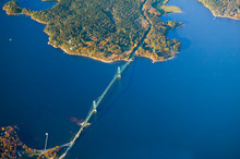 Aerial View Of Bridge South Of Acadia National Park, Maine