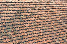 Vintage Roof Covered With Wooden Red Tile Heap, Construction Technology