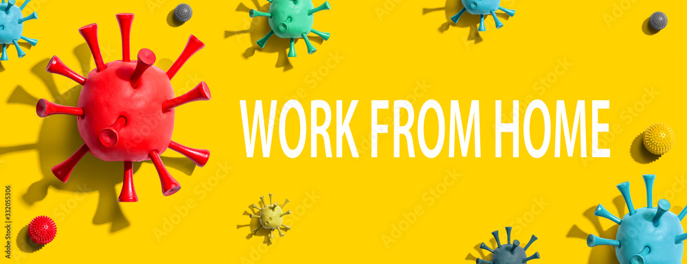 Fototapeta Work from home theme with virus craft objects - flat lay