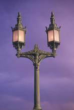 Lamps On London Bridge At Lake Havasu, AZ At Sunrise