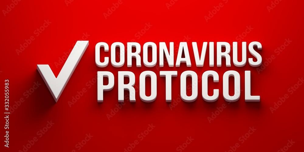 Fototapeta Coronavirus Protocol banner. 3D rendering illustration