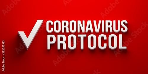 Fotografía Coronavirus Protocol banner. 3D rendering illustration
