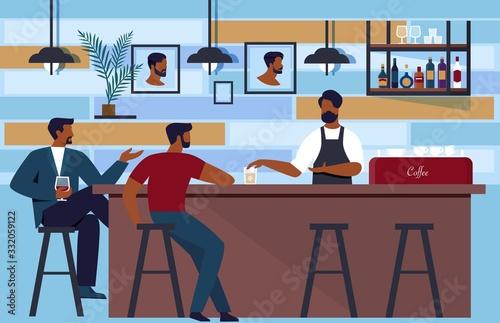 Bartender Lures Customers to Club in Barbershop Canvas Print