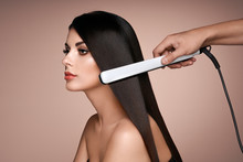 Hairdresser Straightening Long...