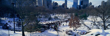 Panoramic View Of Ice Skating Wollman Rink In Central Park, Manhattan, New York City, NY After Winter Snowstorm
