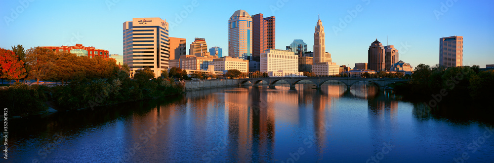 Scioto River and Columbus Ohio skyline, with setting sunlight
