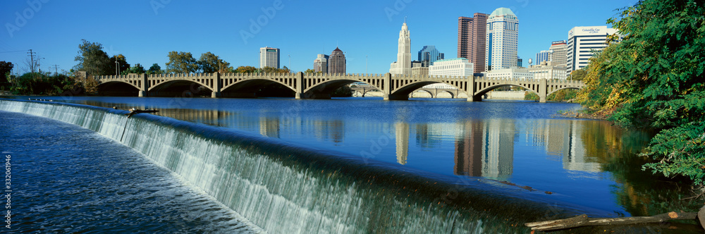 Scioto River with waterfall and Columbus Ohio skyline, with setting sunlight