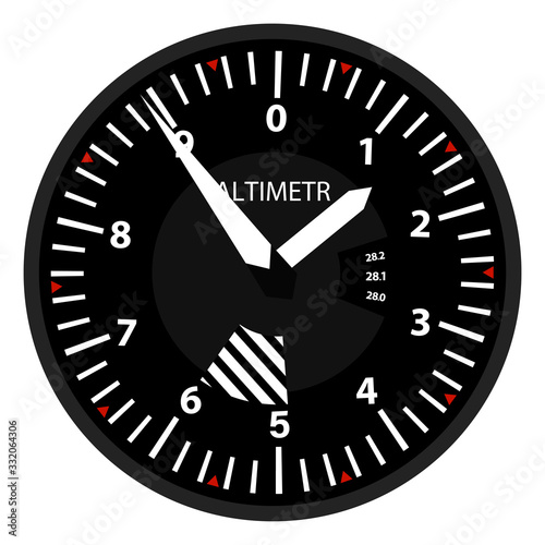 vector aviation altimeter isolated on white background in flat style Canvas Print