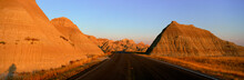 Panoramic View Of Road Going Through Badlands National Park In South Dakota