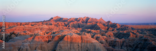 Fényképezés Sunset panoramic view of mountains in Badlands National Park in South Dakota