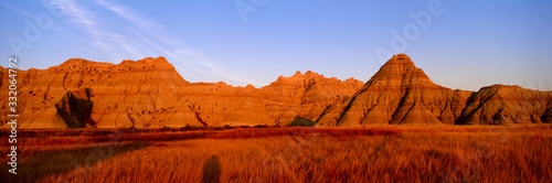 Sunset panoramic view of mountains in Badlands National Park in South Dakota Tapéta, Fotótapéta
