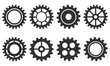 Vector set of isolated gears on a white background.