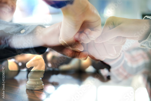Photo startup man woman joining united hand, business team touching hands together