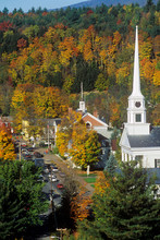 View Of Stowe, VT In Autumn On Scenic Route 100 With Church Spire