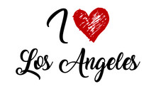I Love Los Angeles Handwritten Cursive Typographic Template With Red Heart.