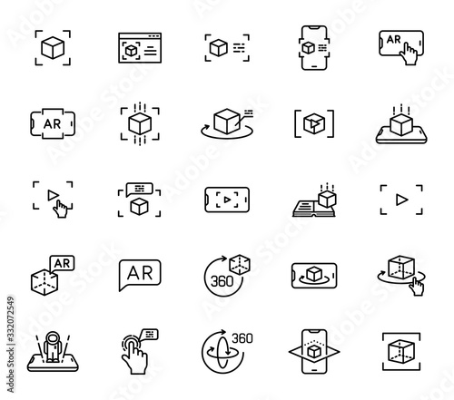 Photo Augmented reality outline vector icons isolated on white background