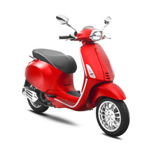 Red Scooter Isolated On White Background. Side View Of Vintage Electric Retro Motorcycle With Step-Through Frame And Platform. Modern Personal Transport. 3D Rendering. Classic Motor Vehicle