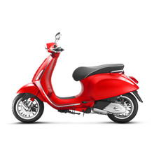 Red Motor Scooter Isolated On White Background. Side View Of Vintage Electric Retro Motorcycle With Step-Through Frame And Platform. Modern Personal Transport. 3D Rendering. Classic Vehicle