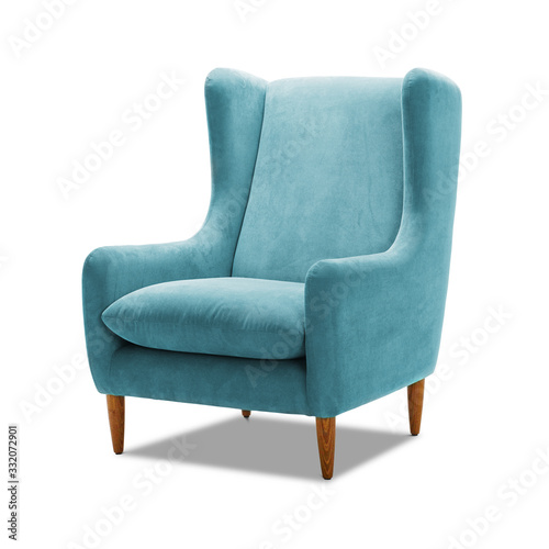 Photo Upholstered Teal Wing Chair with Wooden Feet Isolated on White Background