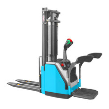 Electric Pallet Truck Isolated On White Background. Side View Of Blue Horizontal Order Picker With Lifting Driver Platform. Industrial Vehicle. Pneumatic Lift Stacker. Warehouse Equipment