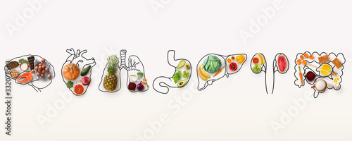 Fototapeta Best menu for healthy body. Collage with outlines of human internal organs and wholesome foods on white background obraz