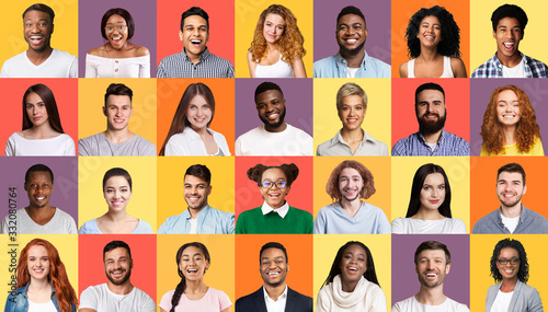 Set Of Smiling Mixed People Faces Posing Over Colorful Backgrounds