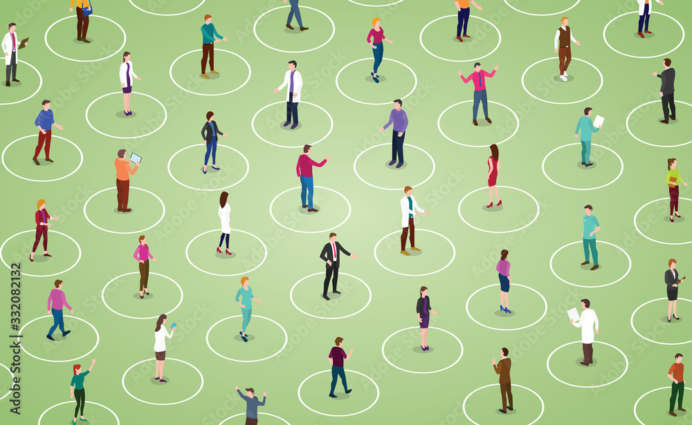 Fototapeta social distancing concept for preventing corona virus covid-19 with people distance with modern isometric style