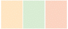 Simple Hand Drawn Irregular Dots Vector Pattern. White Dots Isolated On A Light Yellow, Mint Green And Blush Pink Background. Infantile Style Abstract Geometric Dotted Seamless Vector Print.