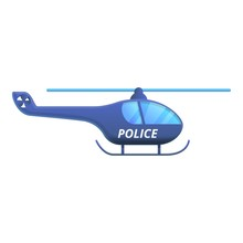Police Helicopter Icon. Cartoo...