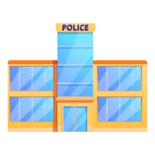 Police Glass Office Icon. Cartoon Of Police Glass Office Vector Icon For Web Design Isolated On White Background
