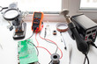 electronic engineer workplace, soldering station