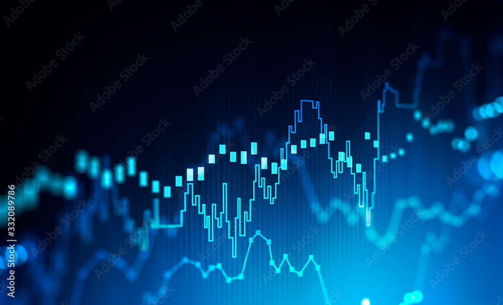 Stock market and trading concept, digital graph