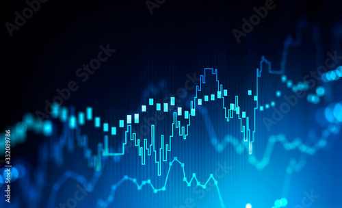 Fototapeta Stock market and trading concept, digital graph obraz
