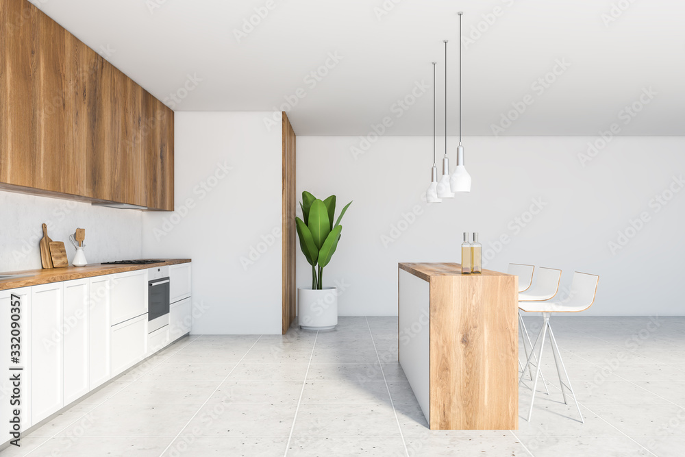 Fototapeta Bar counter in white and wooden kitchen interior