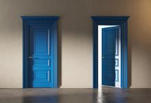 Two Blue Classic Doors In Empt...