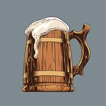 Beer Classic Wooden Mug Or Tankard. Vector Illustration.