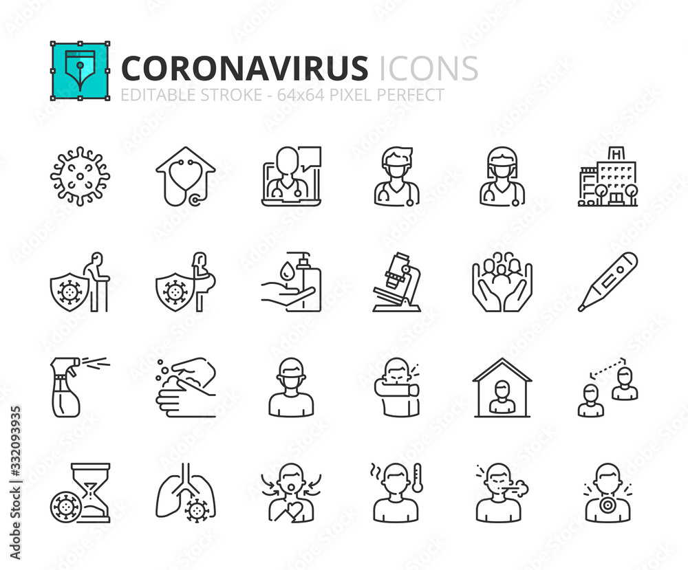 Fototapeta Simple set of outline icons about  Coronavirus prevention and symptoms. Health care.