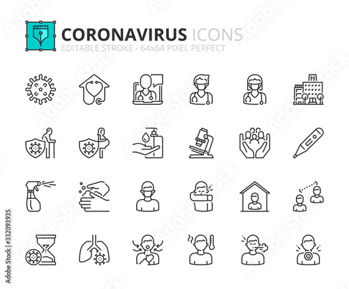Simple set of outline icons about  Coronavirus prevention and symptoms. Health care. - 332093935