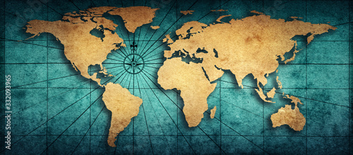 Fototapeta mapa świata   old-map-of-the-world-on-a-old-parchment-background-vintage-style-elements-of-this-image-furnished
