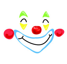 Cute Clown Red Nose Smiling Fa...