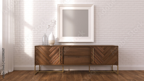 Fotografie, Tablou 3d render mock up wood sideboard and frame photo
