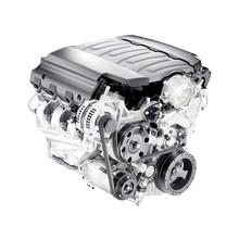 Modern Car Engine Isolated On White Background. V8 Car Engine. Eight-Cylinder Car Engine. Car Motor. Internal Combustion Engine