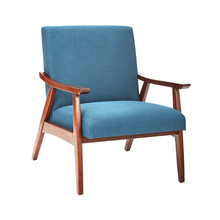 Mid Century Modern Chair Isolated On White Background. Modern Arm Chair With Wood Armrests. Wooden Lounge Chair. Side View Of Upholstered Living Room Armchair With Solid Wood Frame Construction