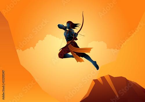 Fotografie, Obraz Lord Rama using bow and arrow