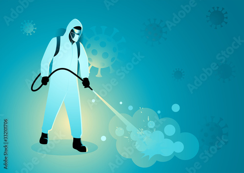 Obraz Man in protective suit spraying disinfectant to cleaning and disinfect virus - fototapety do salonu