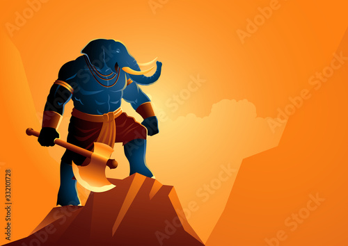 Cuadros en Lienzo Fantasy art illustration of Ganesh