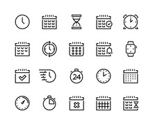 Time And Calendar Line Icons. Business Planning And Schedule Optimization Pictograms With Clock, Alarm, Stopwatch And Chronometer. Vector Set Simple Icon Symbols Timekeeper, Sign Time Relativity