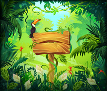 Cartoon Jungle Background. Tropical Forest Nature Frame, Game Screen With Wooden Panel And Green Exotic Leaves. Vector Illustrations Wood Brown Signboard On Wild Magical Background