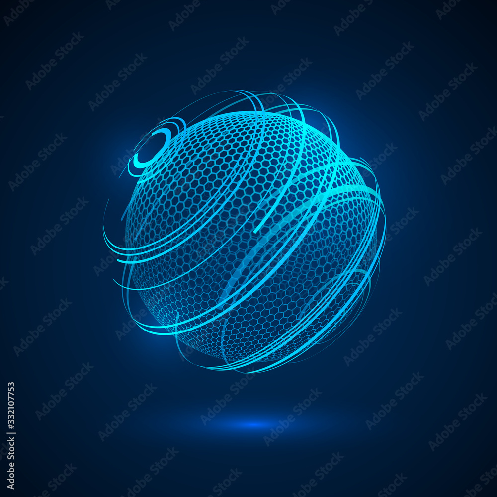 Fototapeta Abstract tecjnology hologram sphere. sci fi neon sphere. Futuristic digital background. HUD element or cyber globe. Vector