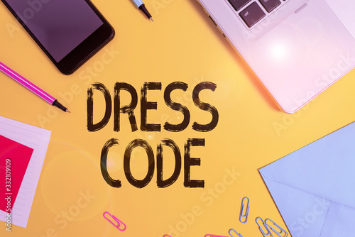Photo Conceptual hand writing showing Dress Code